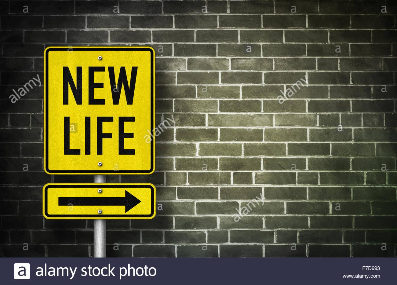 Señal de carretera nueva vida - Ilustración Imagen De Stock