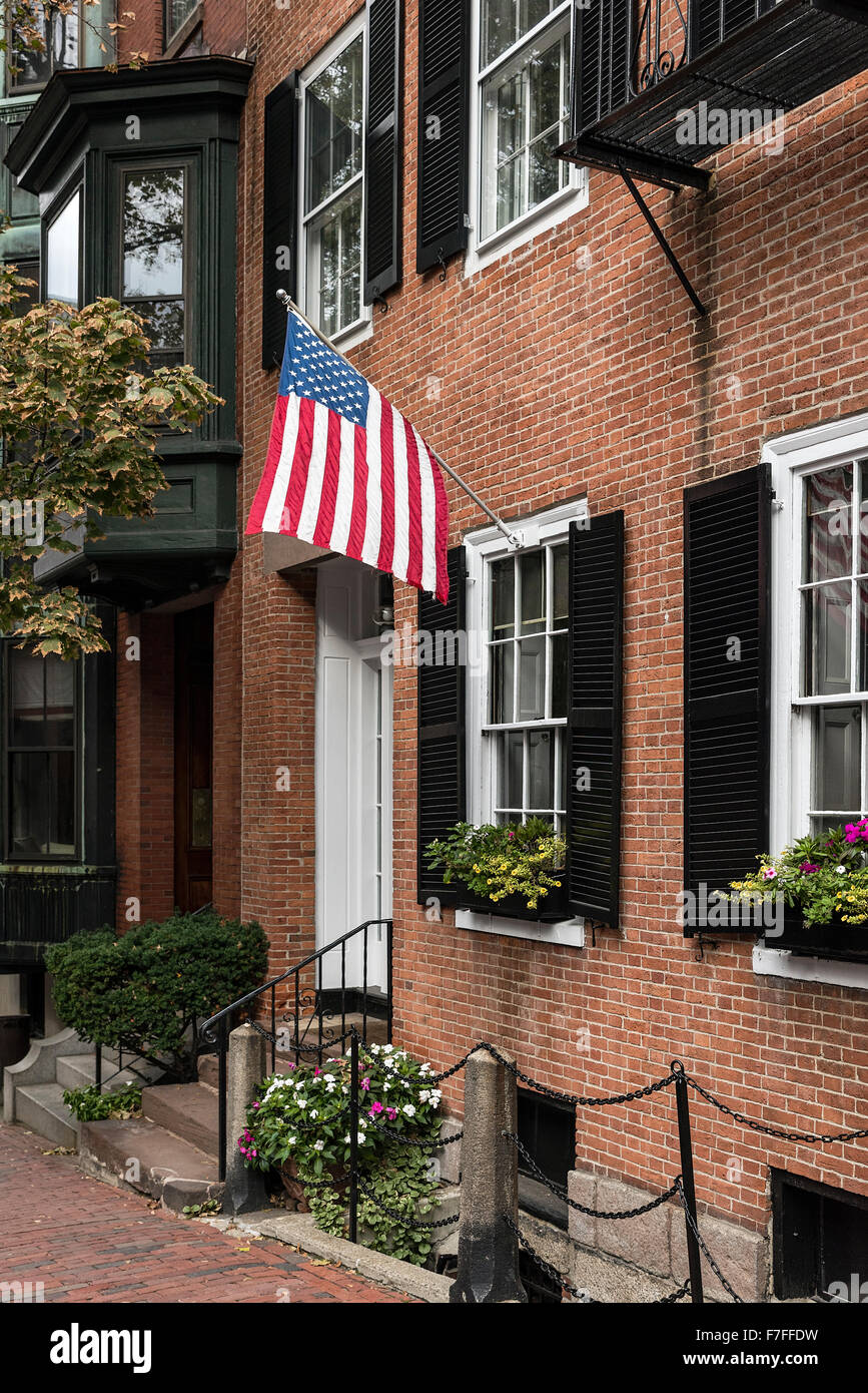 Calle histórica en el barrio de Beacon Hill, Boston, Massachusetts, EE.UU. Imagen De Stock