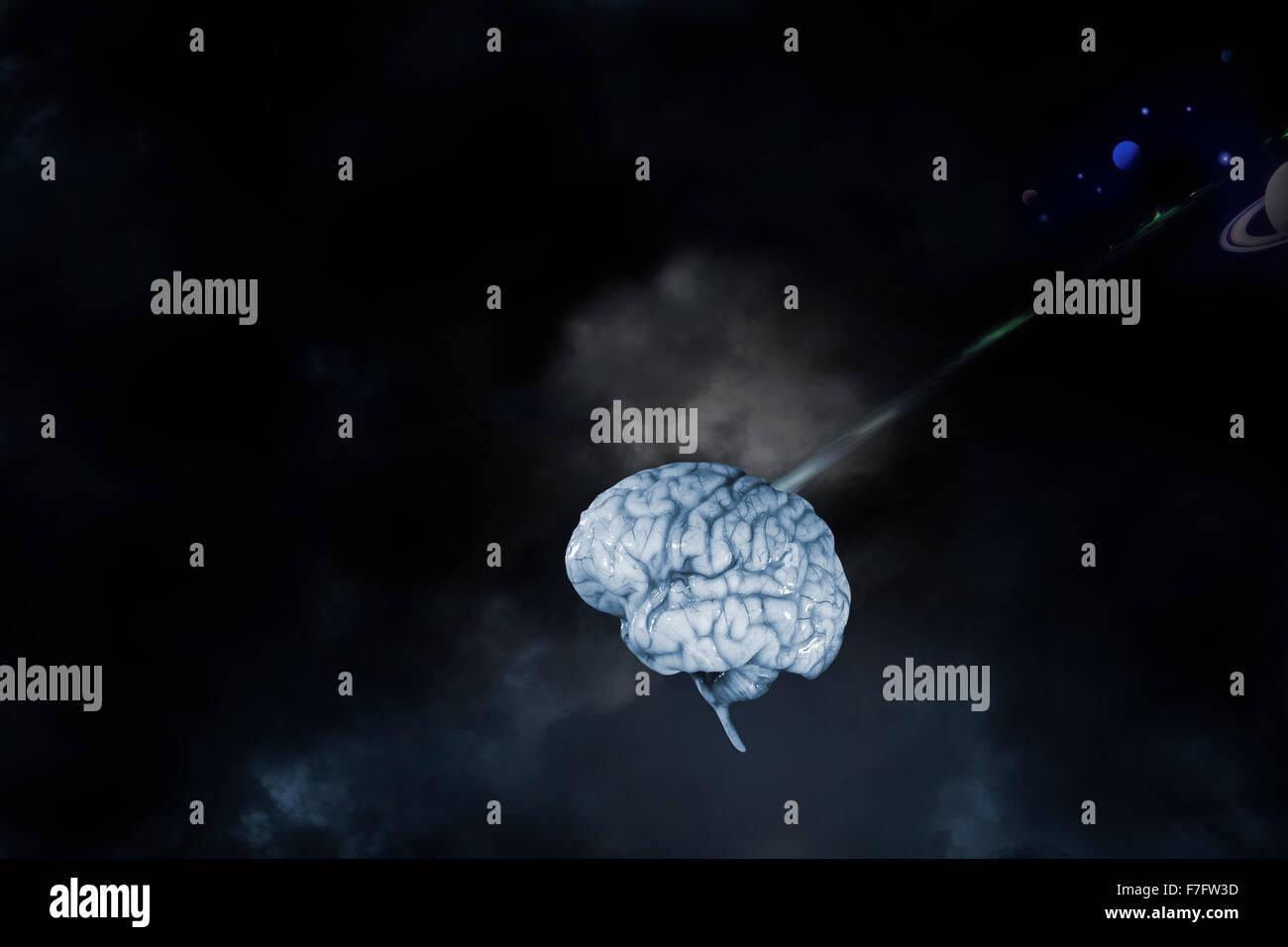 Cerebro Humano en el espacio ultraterrestre, comunicación Imagen De Stock