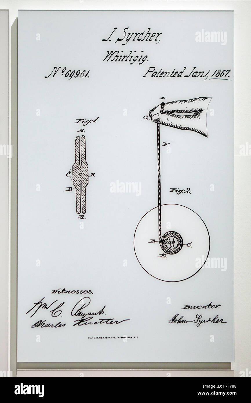 J Syrcher Carrusel (yoyó) Diagrama de patentes, circa 1847 Foto de stock
