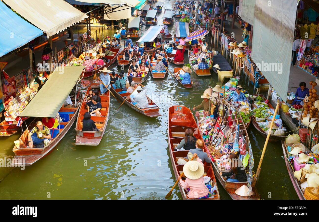 Damnoen Saduak mercado flotante de Bangkok, Bangkok, Tailandia Imagen De Stock