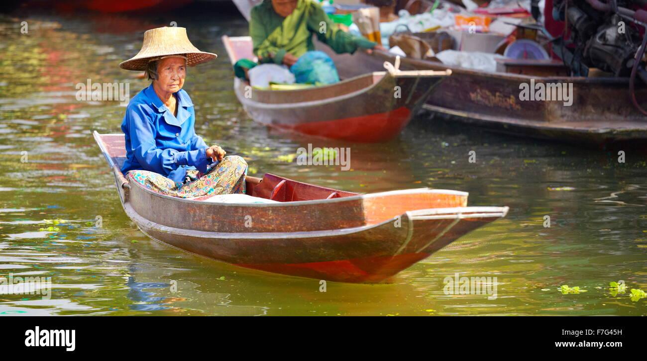 Mercado Flotante Tailandia Tha Kha cerca de Bangkok, Tailandia Imagen De Stock