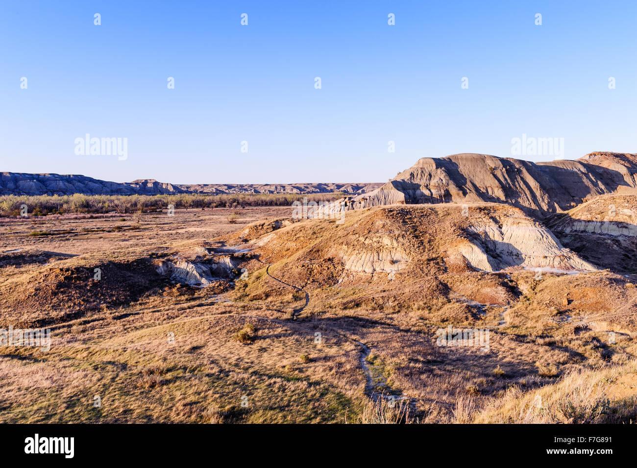 El Dinosaur Provincial Park paisaje destaca por la belleza de su paisaje de malpaís y como un importante sitio Imagen De Stock