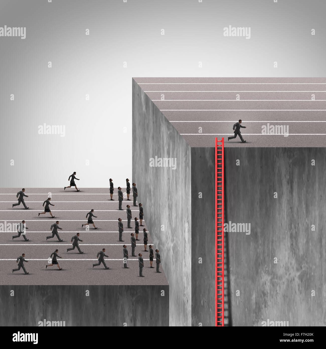 Estrategia ganadora como un plan más astuto empresario inteligente utilizando una escalera oculta a elevarse Imagen De Stock