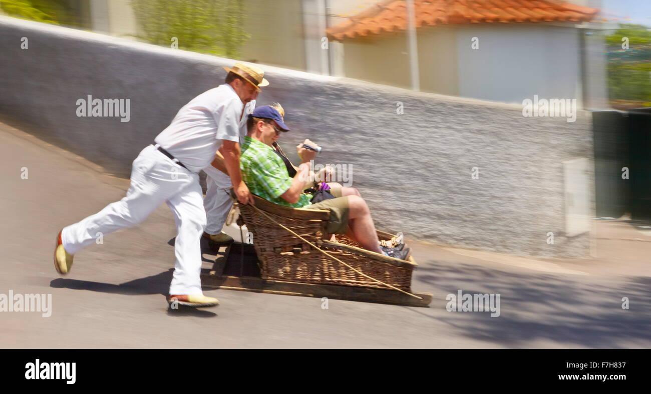 El Toboggan Run (trineos), el Monte, Isla de Madeira, Portugal Imagen De Stock