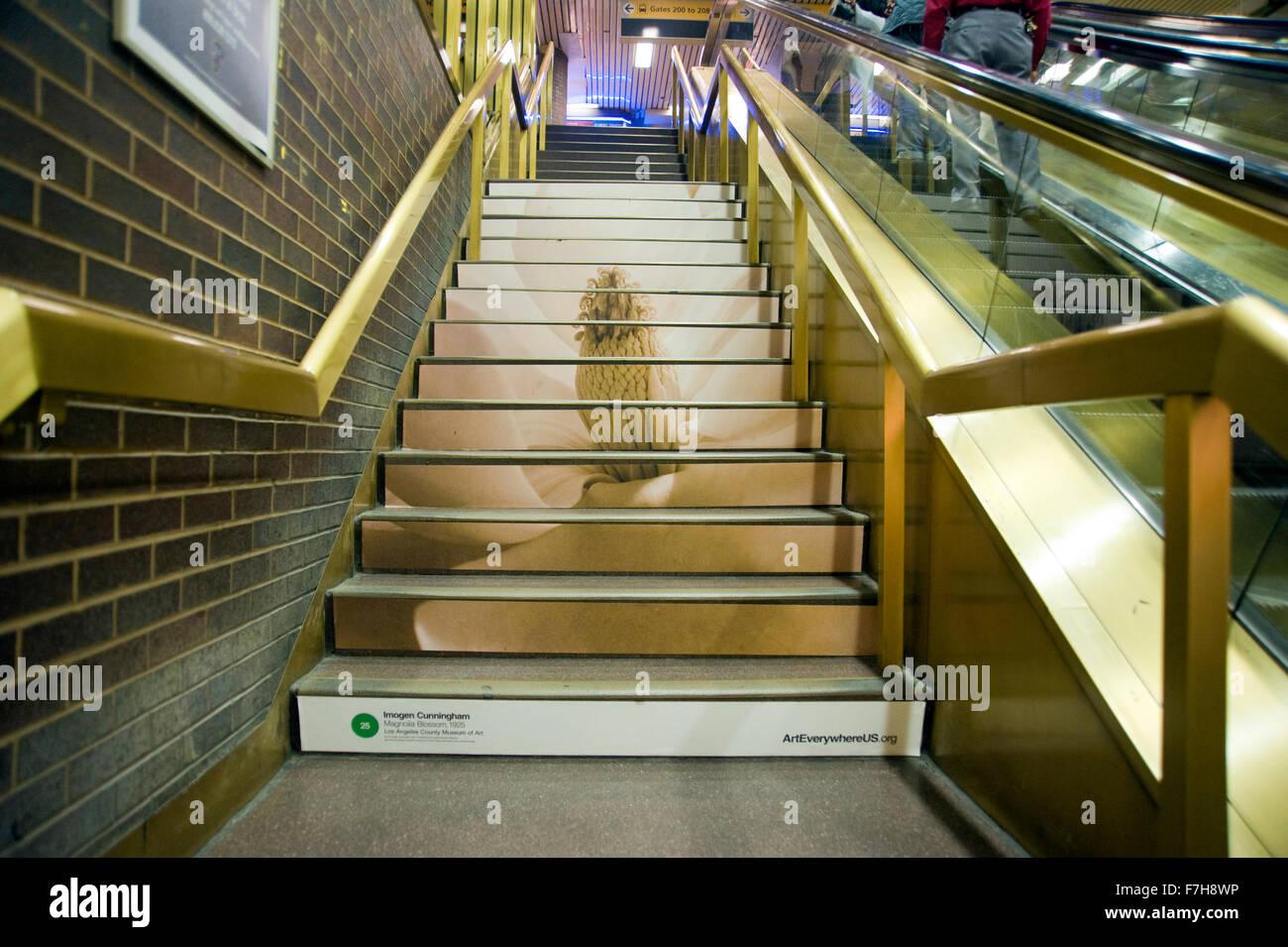 Imogen Cunningham fotografía reproducida en la escalera de la estación de autobuses Port Authority en Manhattan como parte del proyecto de arte por todas partes en Nueva York. Foto de stock