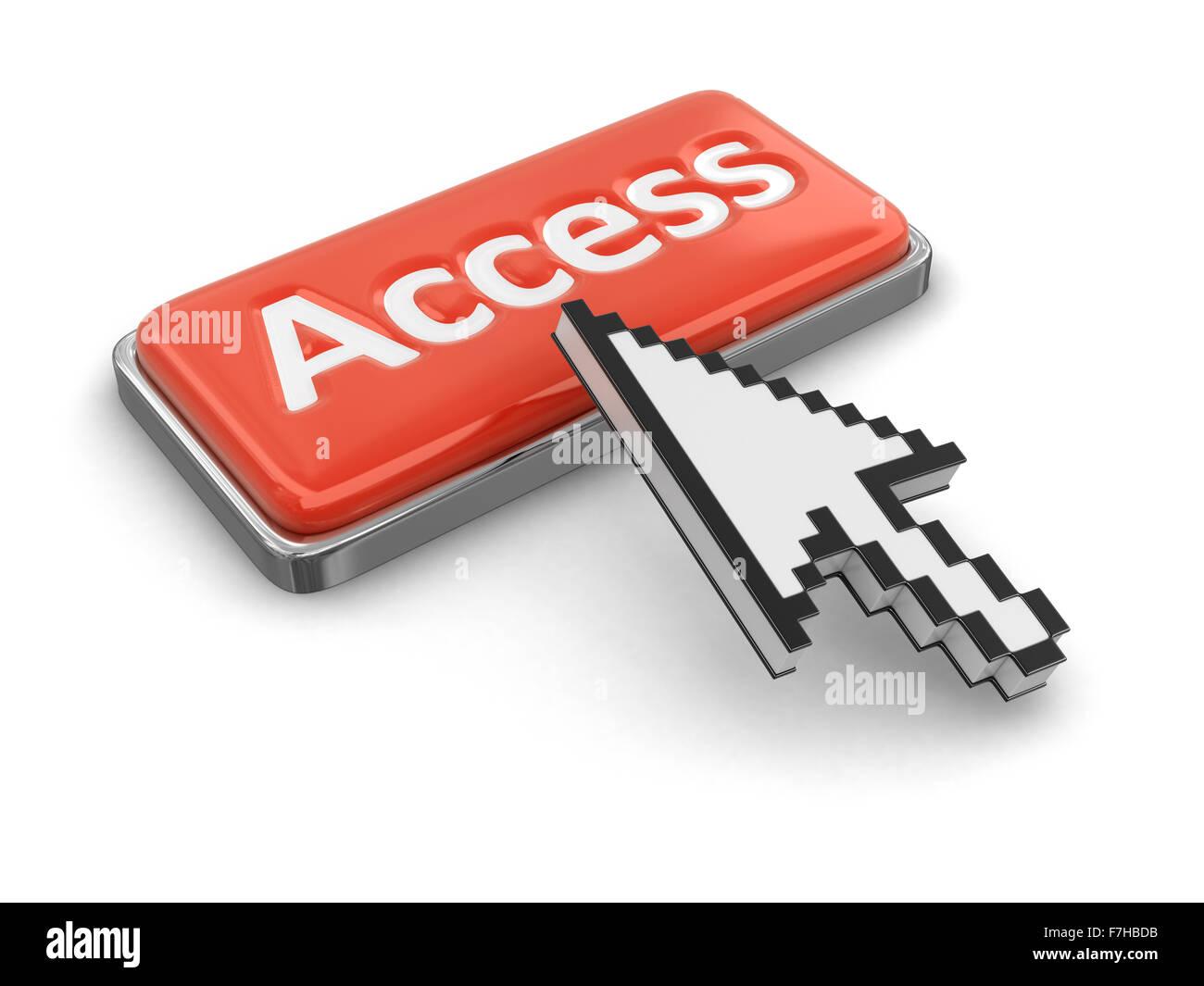 El cursor y el botón Acceso. Imagen con trazado de recorte Imagen De Stock