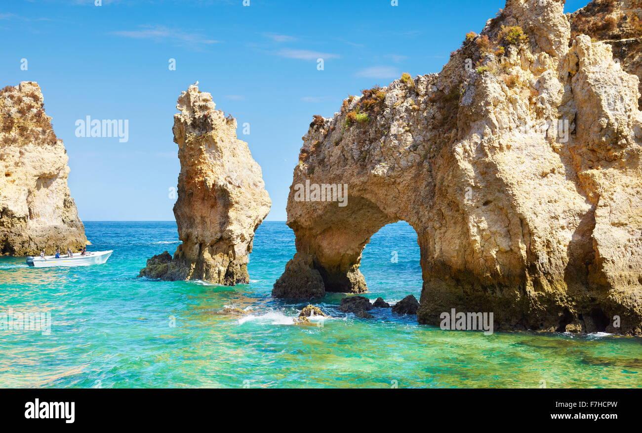 Costa Algarve Ponta da Piedade cerca de Lagos, Portugal Imagen De Stock