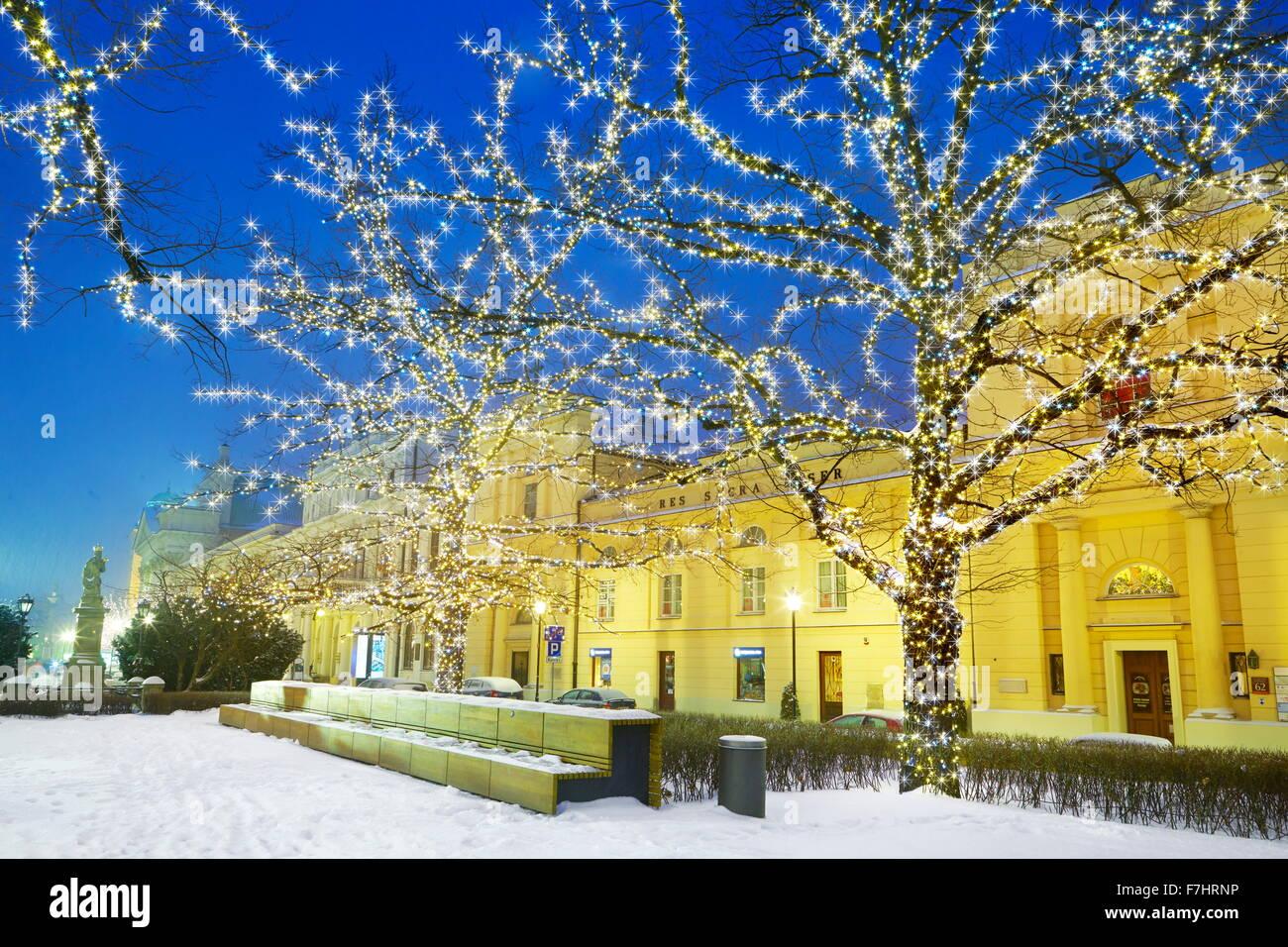 Decoración de Navidad de invierno al aire libre, Varsovia, Polonia Imagen De Stock