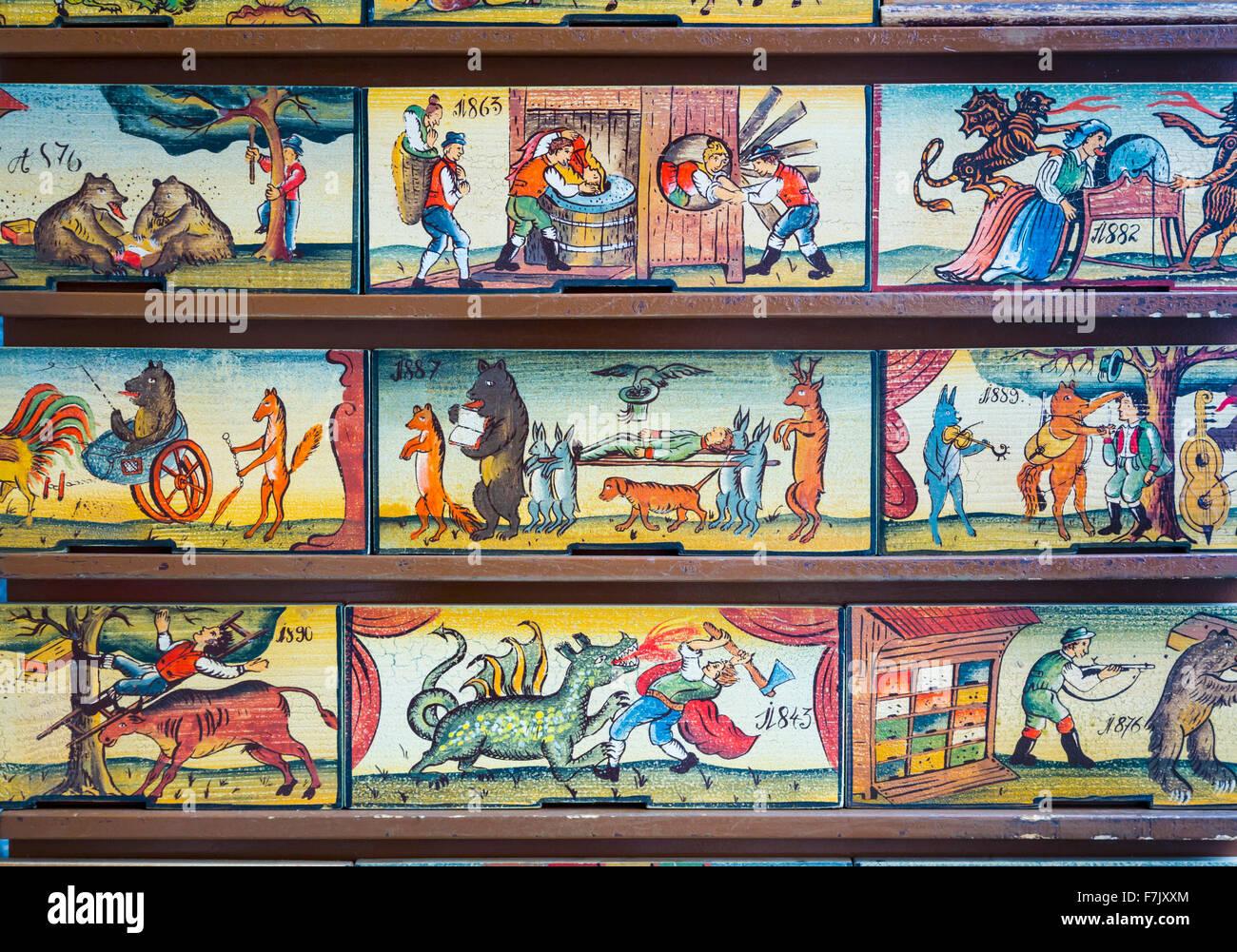 Los paneles de la colmena, Eslovenia. Copias de originales son un elemento de recuerdo con los visitantes. Originalmente, Imagen De Stock