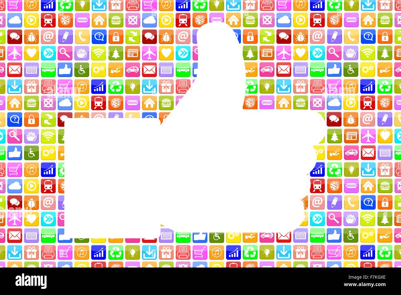 Aplicaciones Aplicaciones App como icono Thumbs up medios sociales en red móvil o teléfono inteligente. Imagen De Stock