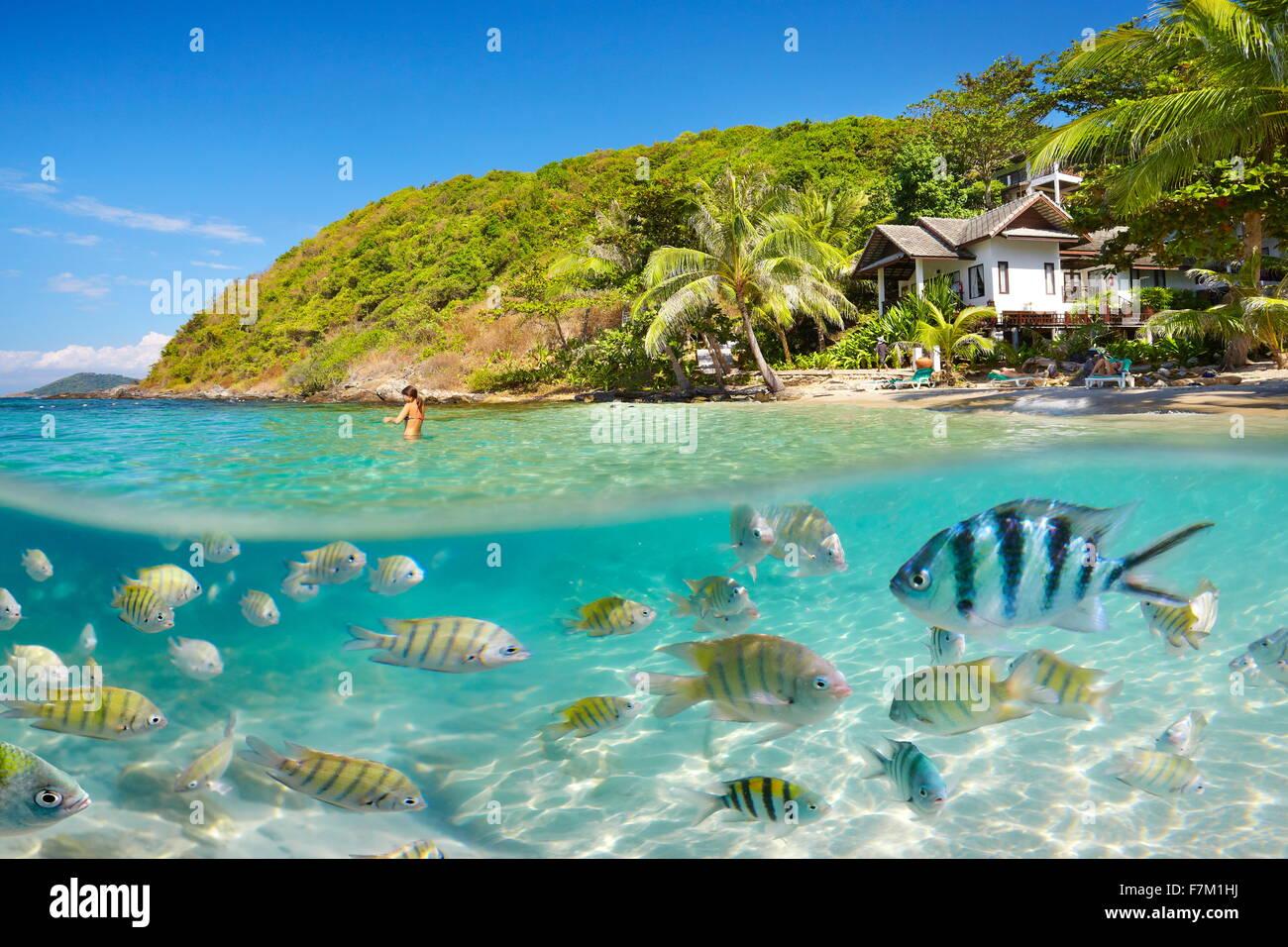 Vista mar submarino en Ko Samet Island Beach, Tailandia, Asia Foto de stock