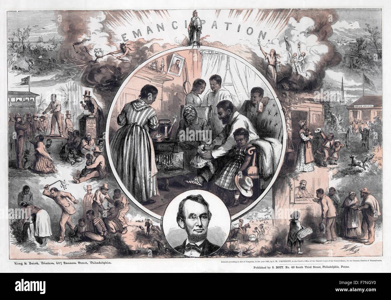 Ilustración de 1965 en conmemoración de la emancipación de los esclavos del sur y el final de la Imagen De Stock