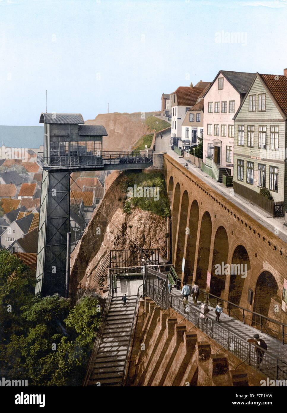 El ascensor, Helgoland, Alemania 1895 Imagen De Stock