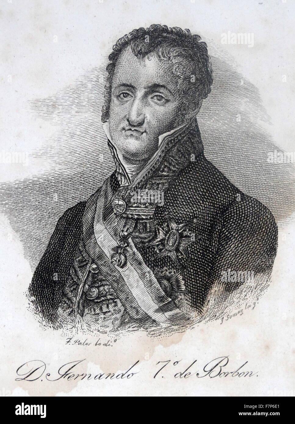 Grabado con el retrato del rey Fernando VII de España (1784-1833 ...