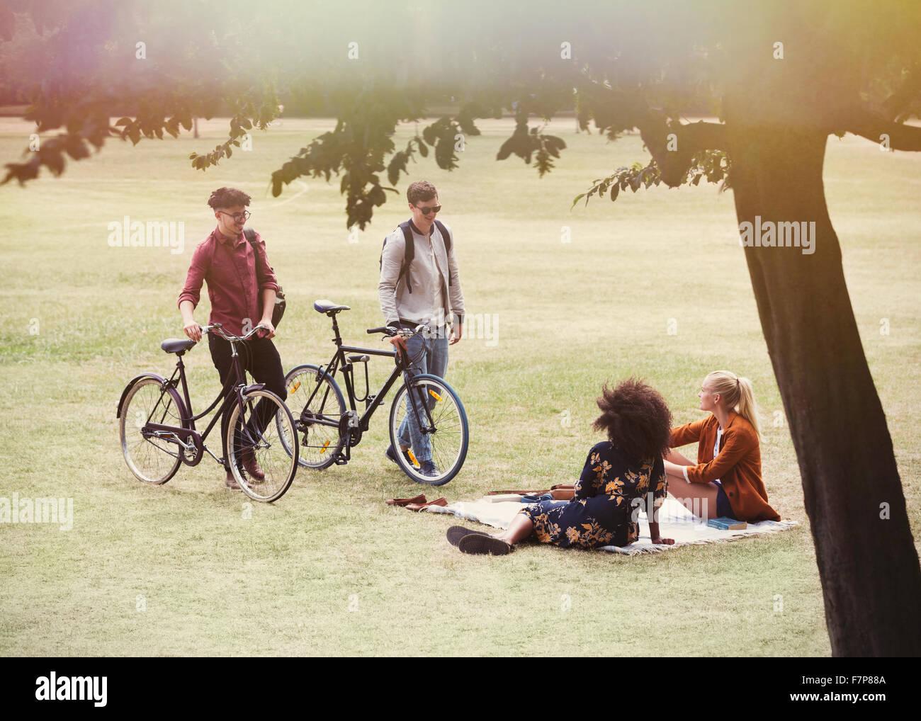 Los hombres con bicicletas acercando las mujeres sobre una manta en el parque Imagen De Stock