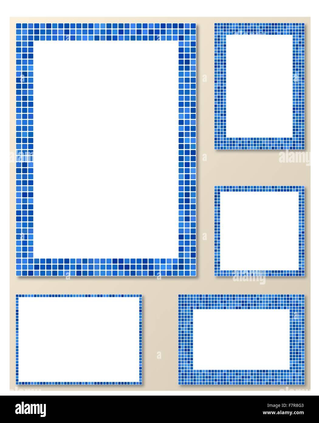 Mosaico de píxeles azules página del conjunto de marcos Ilustración ...