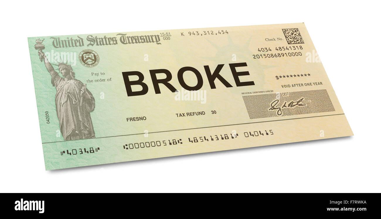 Cheque de devolución de impuestos estadounidense rompió con el aislado sobre fondo blanco. Foto de stock