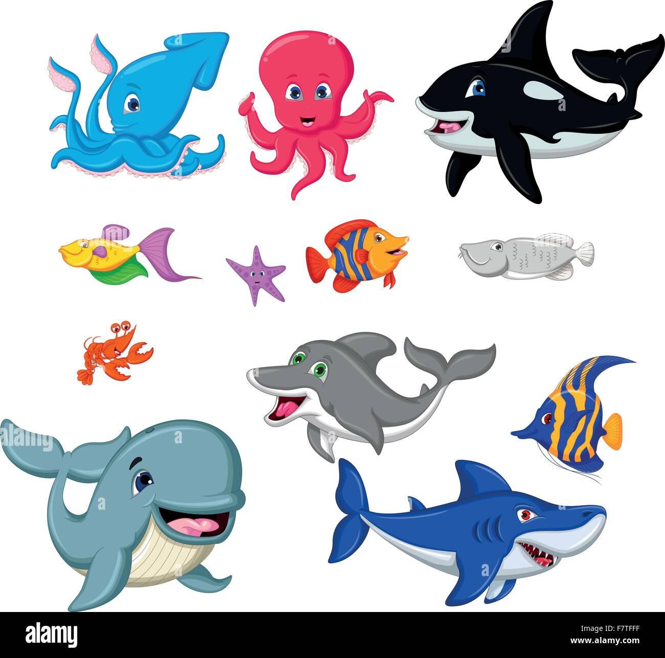 Conjunto de animales marinos de dibujos animados Ilustración del ...