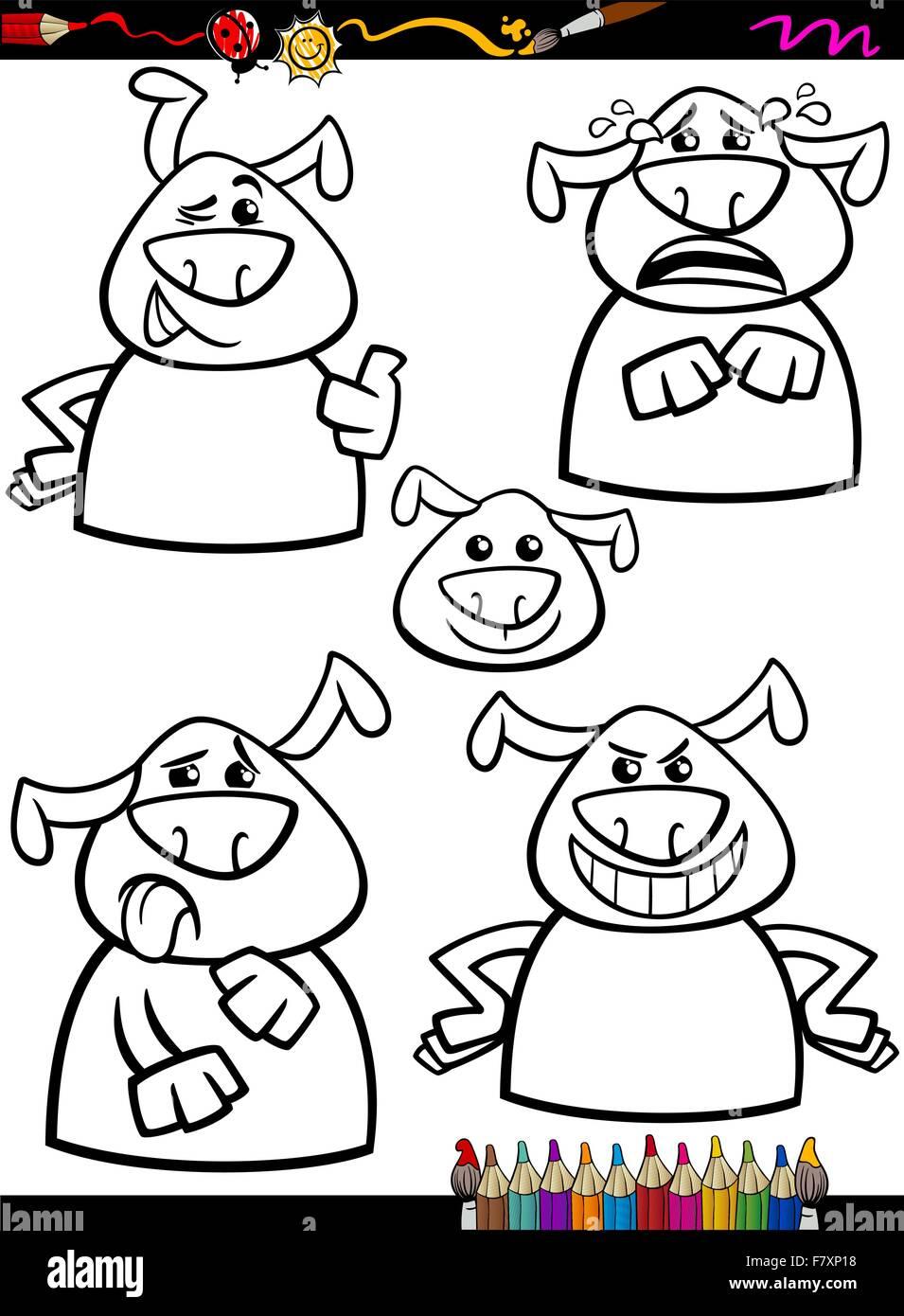 Perro emoción Establecer página para colorear dibujos animados ...