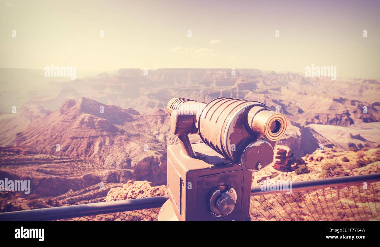 Telescopio tonos Vintage Grand Canyon, señaló en concepto de viajes, EE.UU.. Imagen De Stock