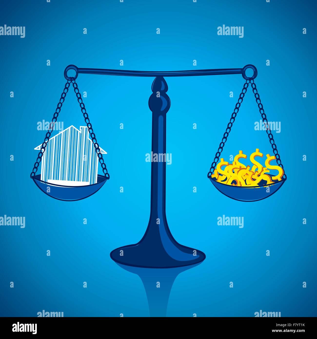 Sopesar su casa con montones de dinero Imagen De Stock
