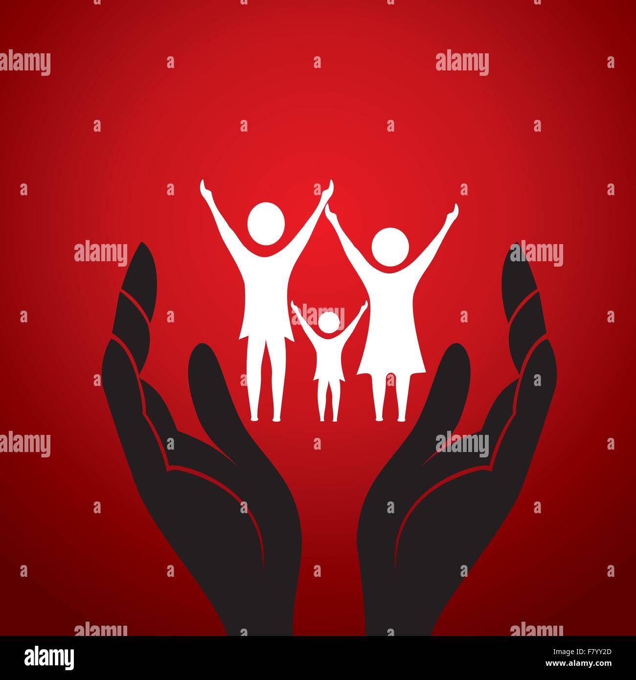 Con la familia en la mano Imagen De Stock