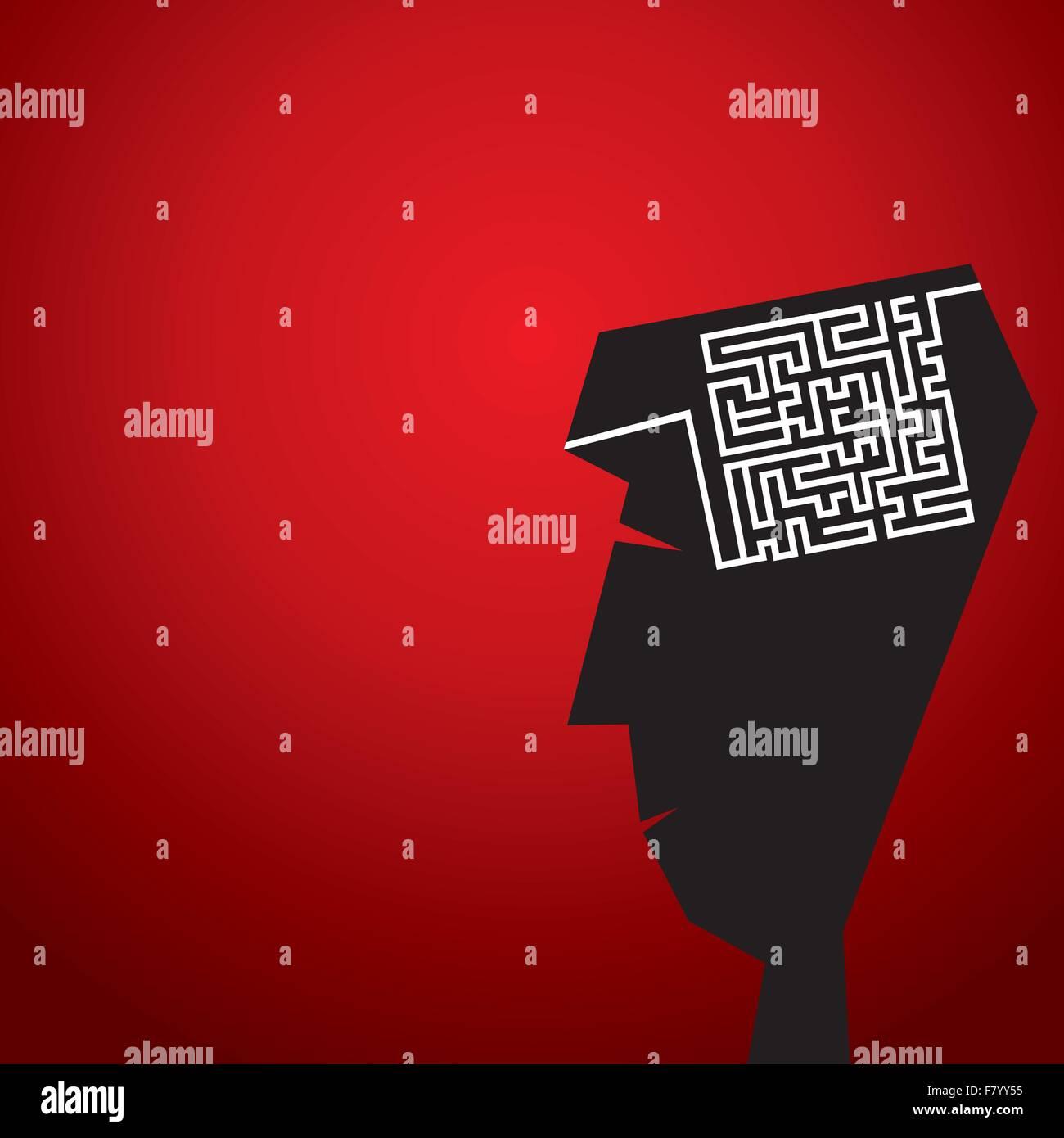 Laberinto en concepto de cabeza Imagen De Stock