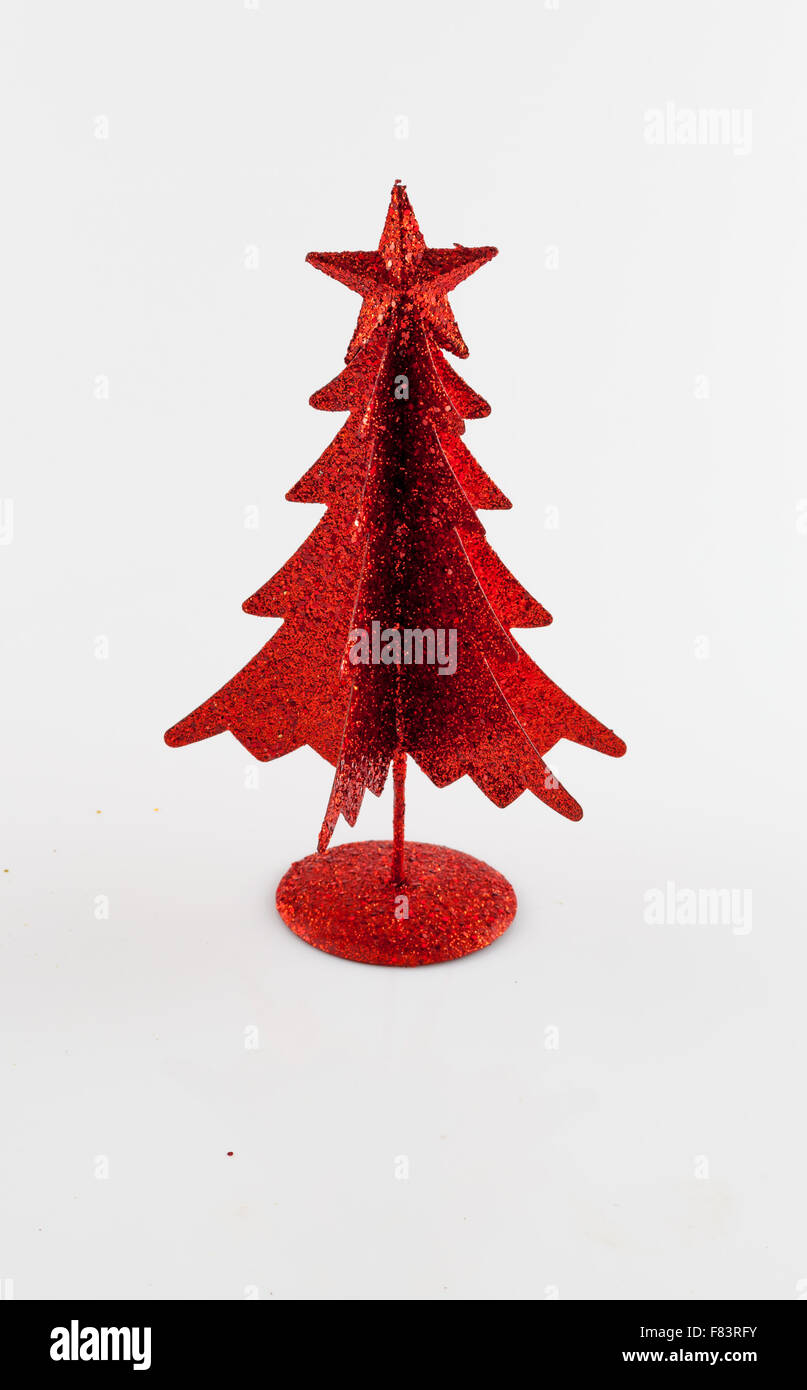 Red Metallic Christmas Tree On White Backg Imágenes De Stock & Red ...