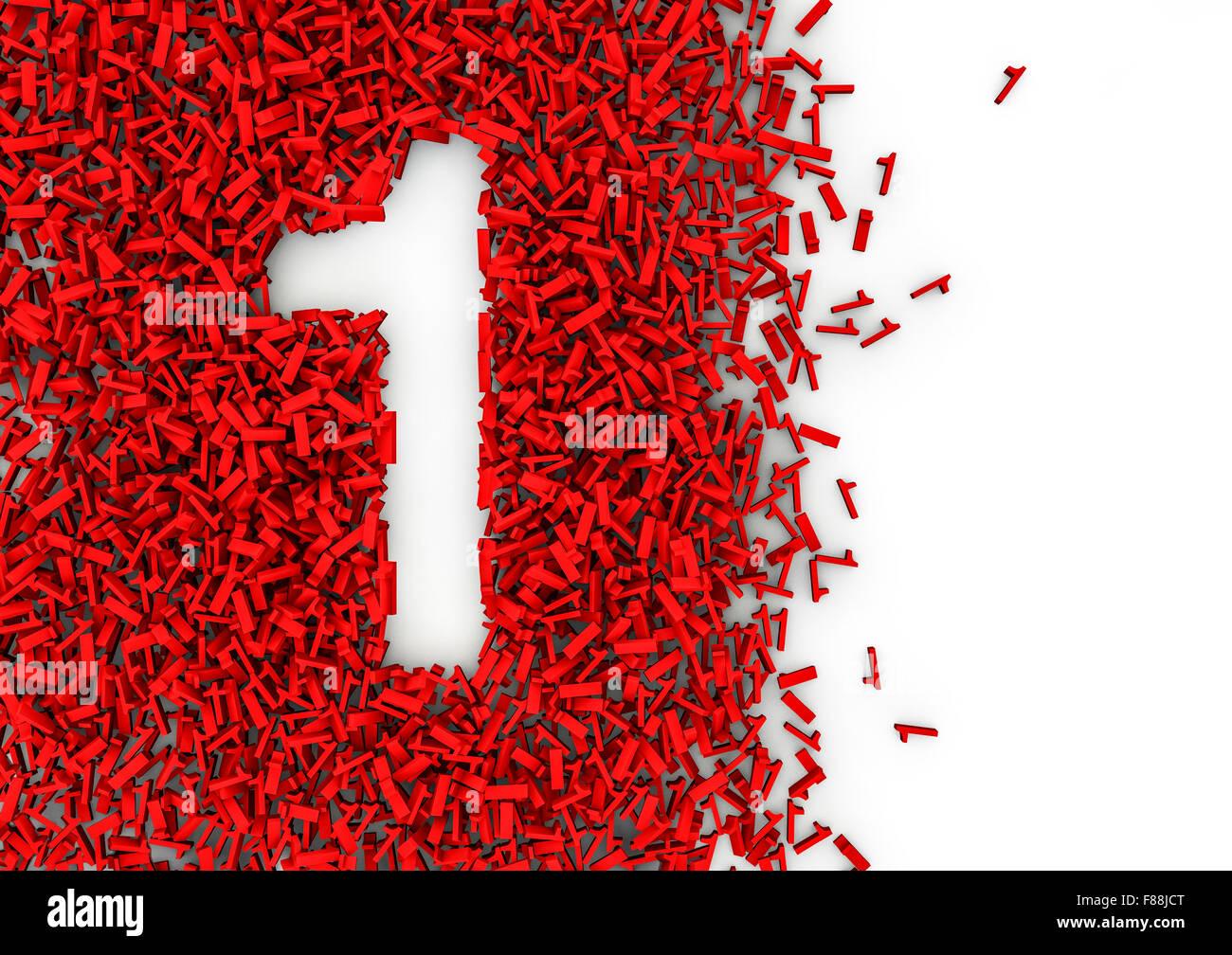 Void abecedario 3D / orificio en forma de número formado por miles de pequeñas fácil para colorear Imagen De Stock