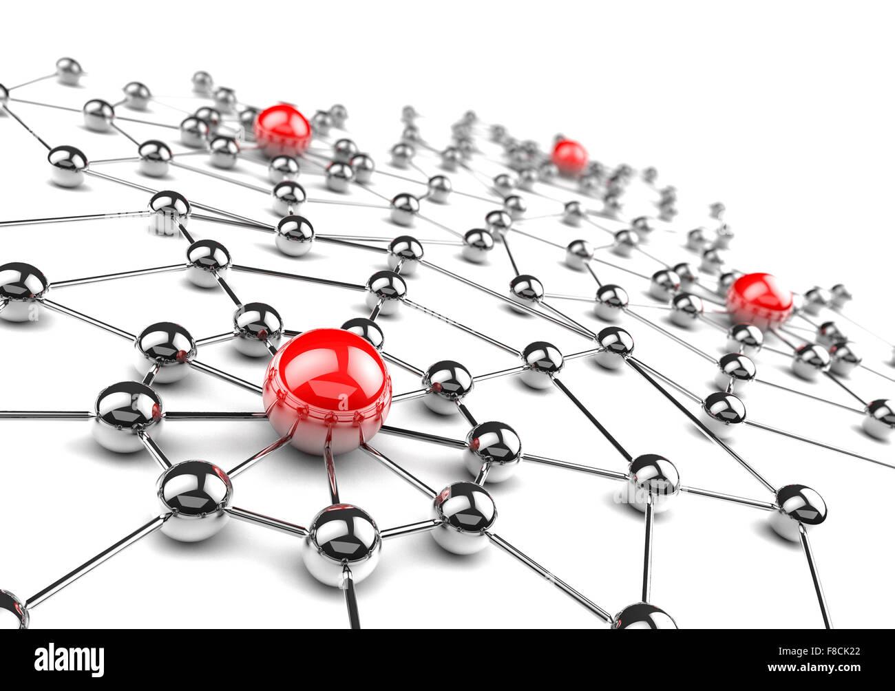 Concepto de redes e Internet.Red 3D Imagen De Stock