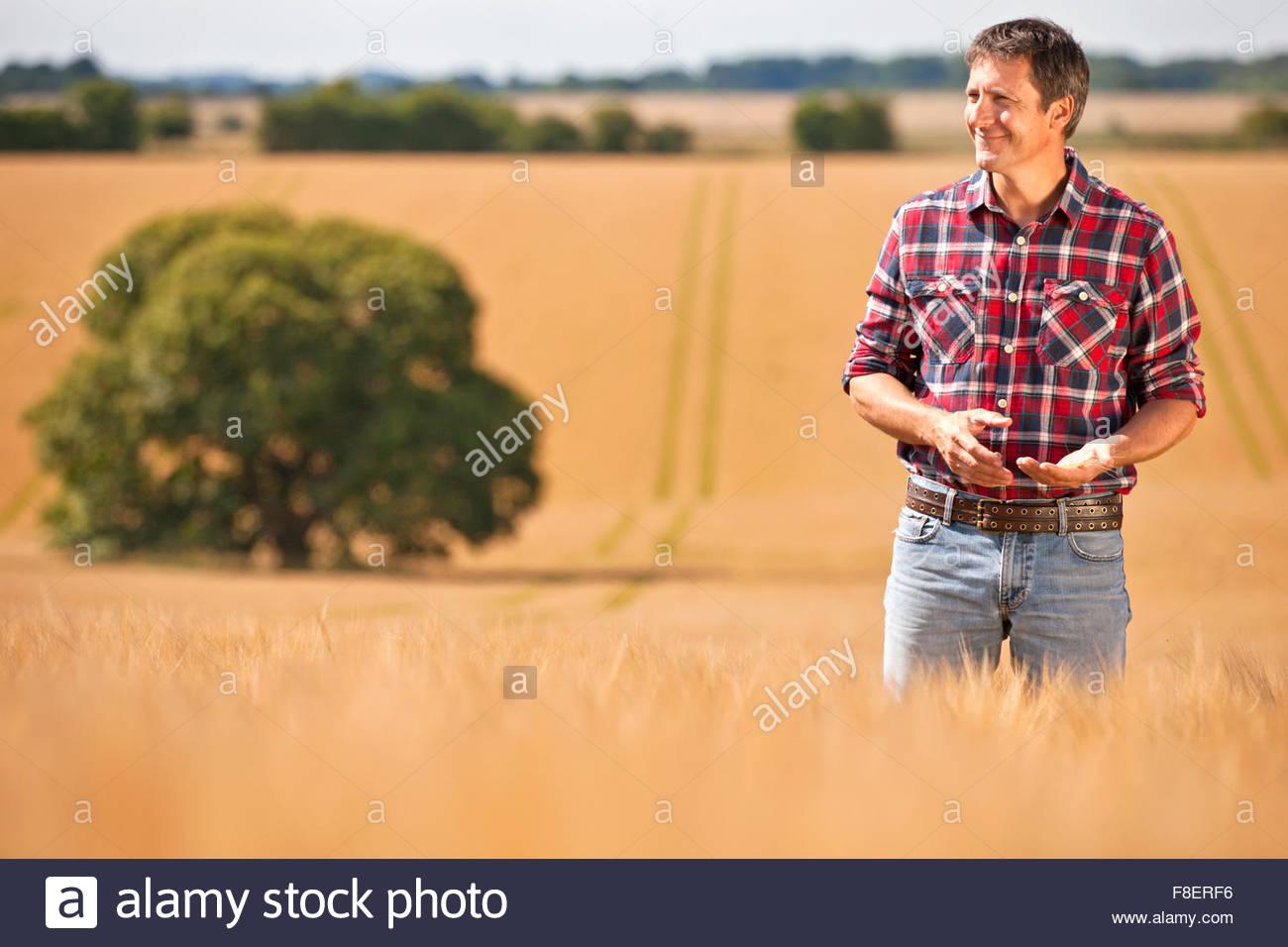 Agricultor apartar la mirada en un soleado día de campo de cultivos de cebada rural Imagen De Stock