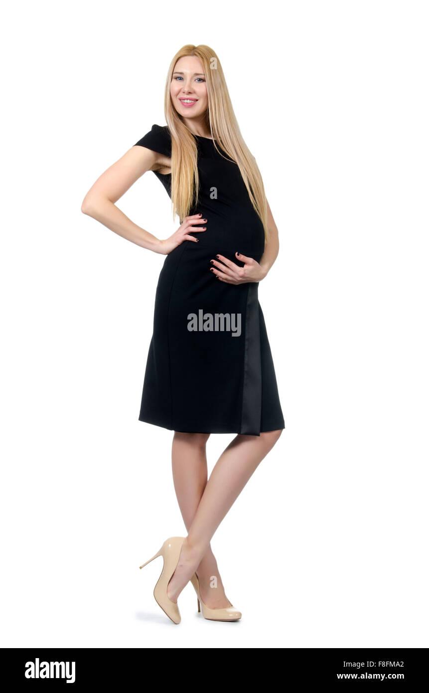 bf864fefd Hermosa mujer embarazada en vestido negro aislado en blanco · Elnur  Amikishiyev   Alamy Foto de stock