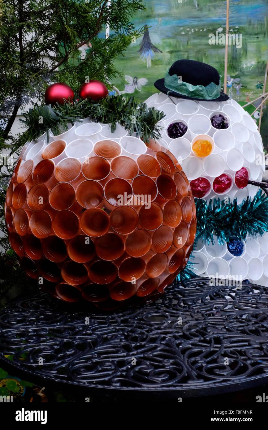 Navidad Budín De Jardín Y El Muñeco De Nieve Adornos De Vasos De
