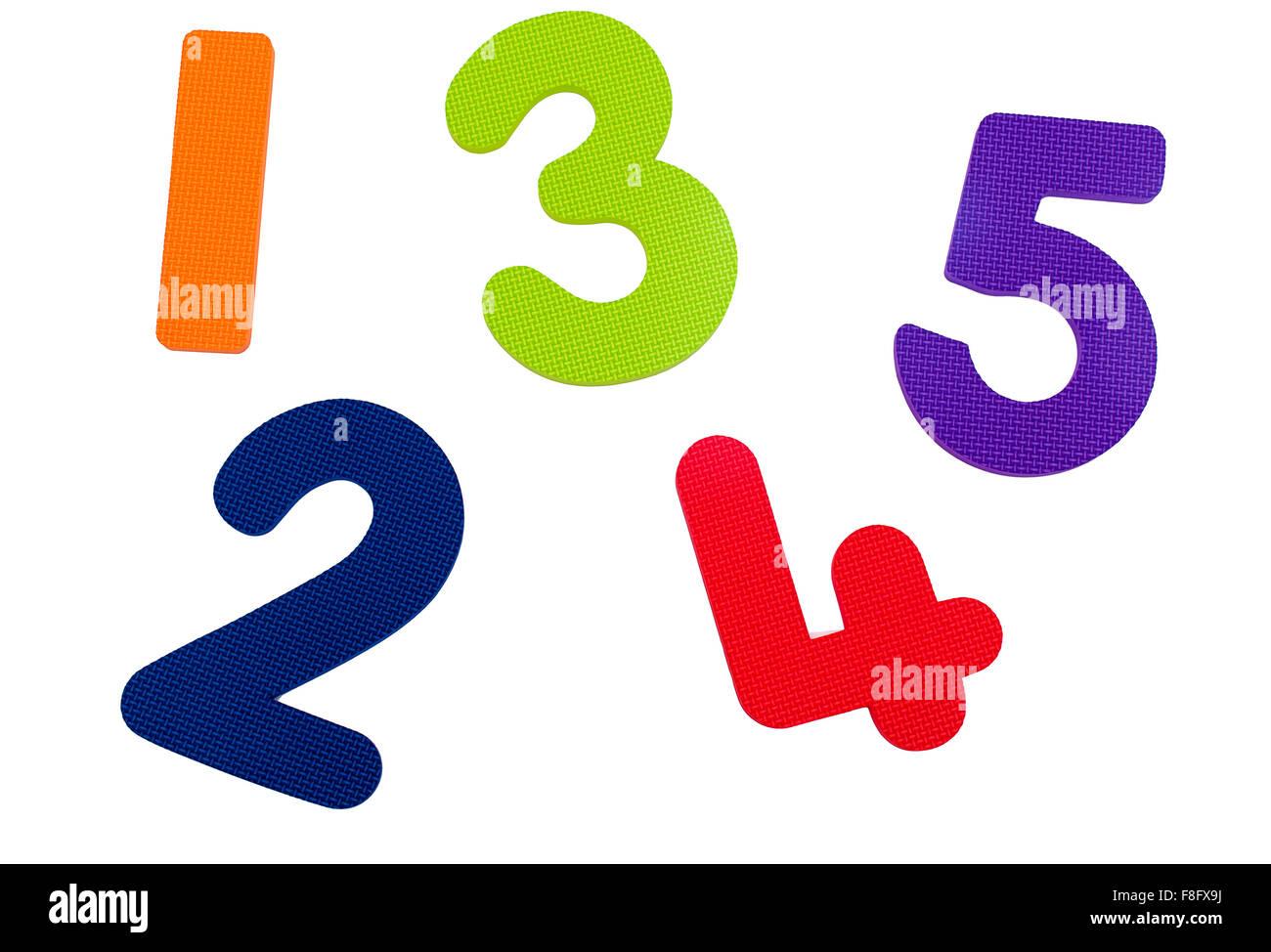 Uno a cinco números con textura Imagen De Stock