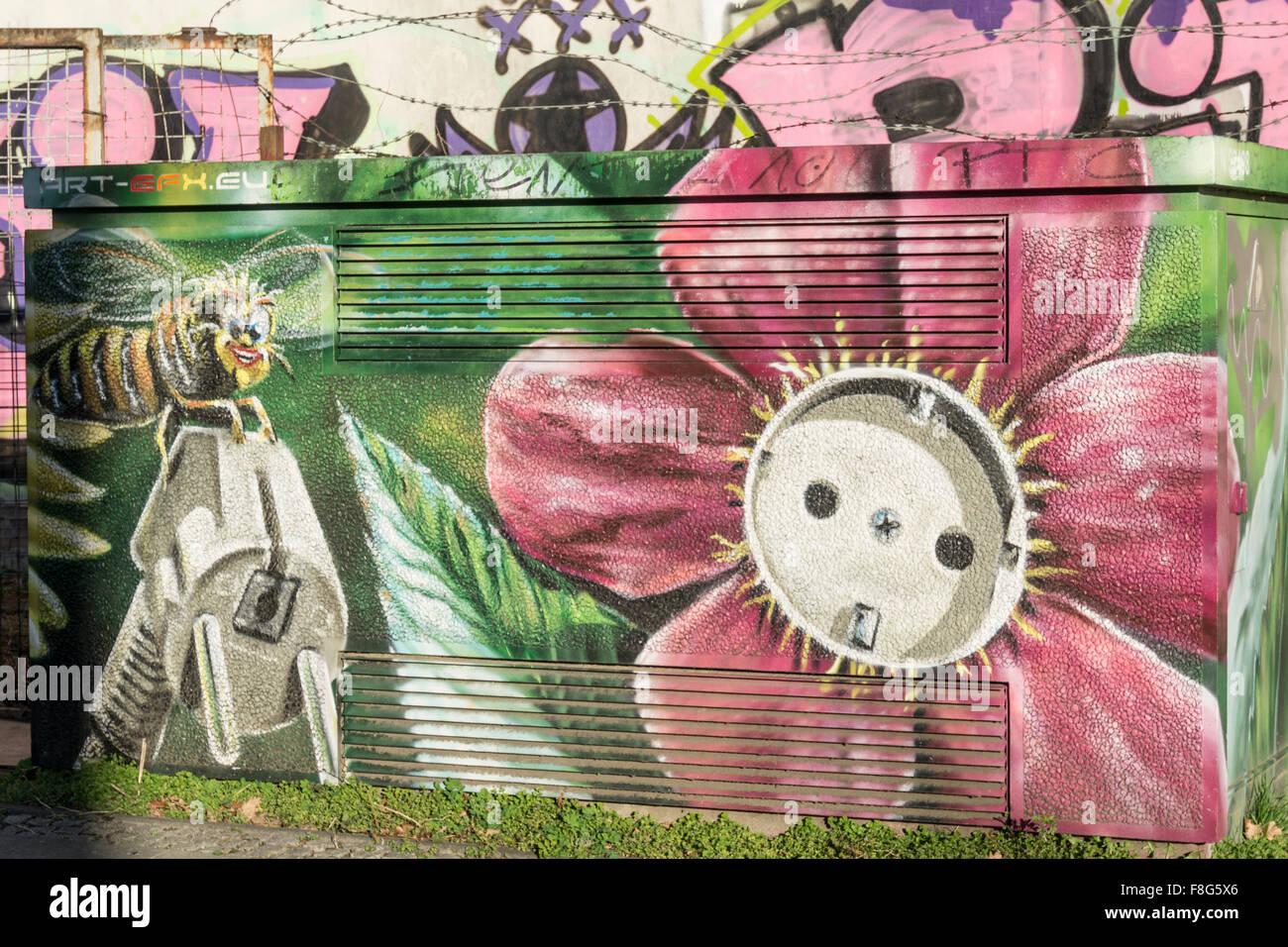 Graffiti, el suministro de energía, de Treptow, Berlin Imagen De Stock