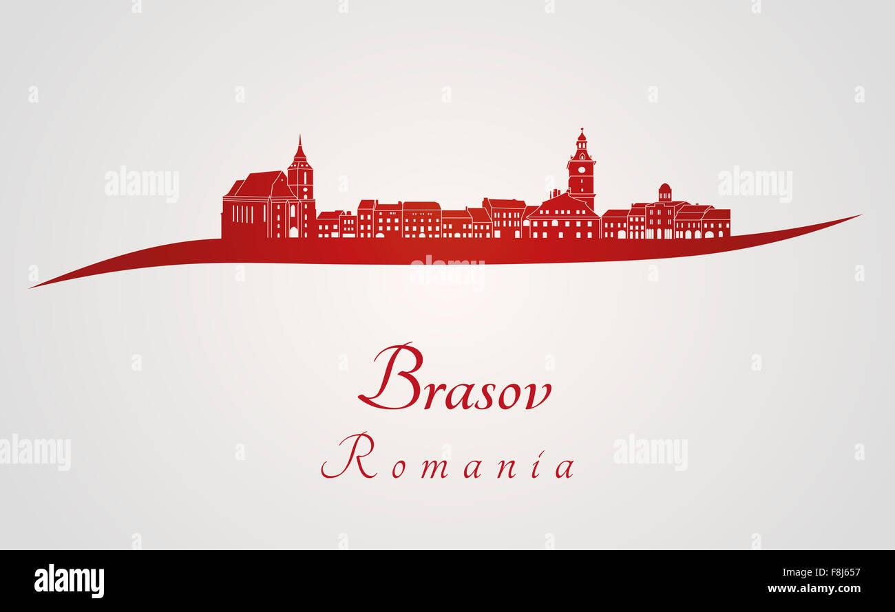 Brasov skyline en rojo y el fondo gris en archivo vectorial editable Foto de stock