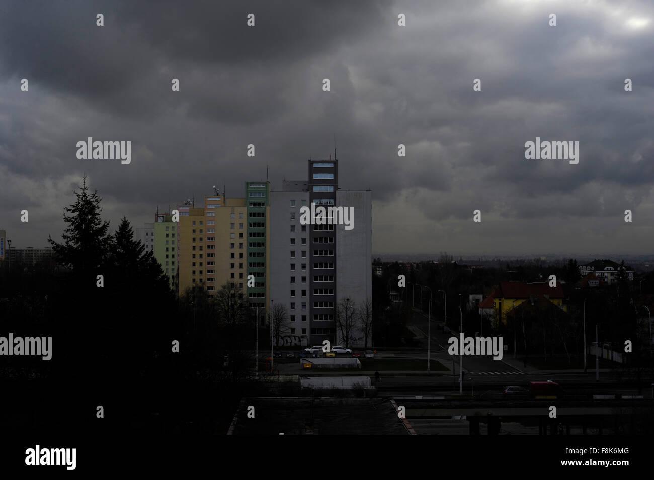 Ex Unión Soviética URSS arquitectura, edificios en bloque. Afueras de Praga República Checa Imagen De Stock