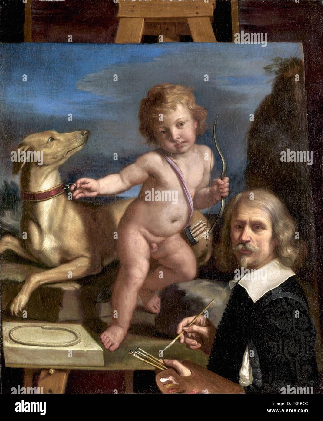 Giovanni Francesco Barbieri - Guercino - Autorretrato ante una pintura de Amor Fedele Imagen De Stock