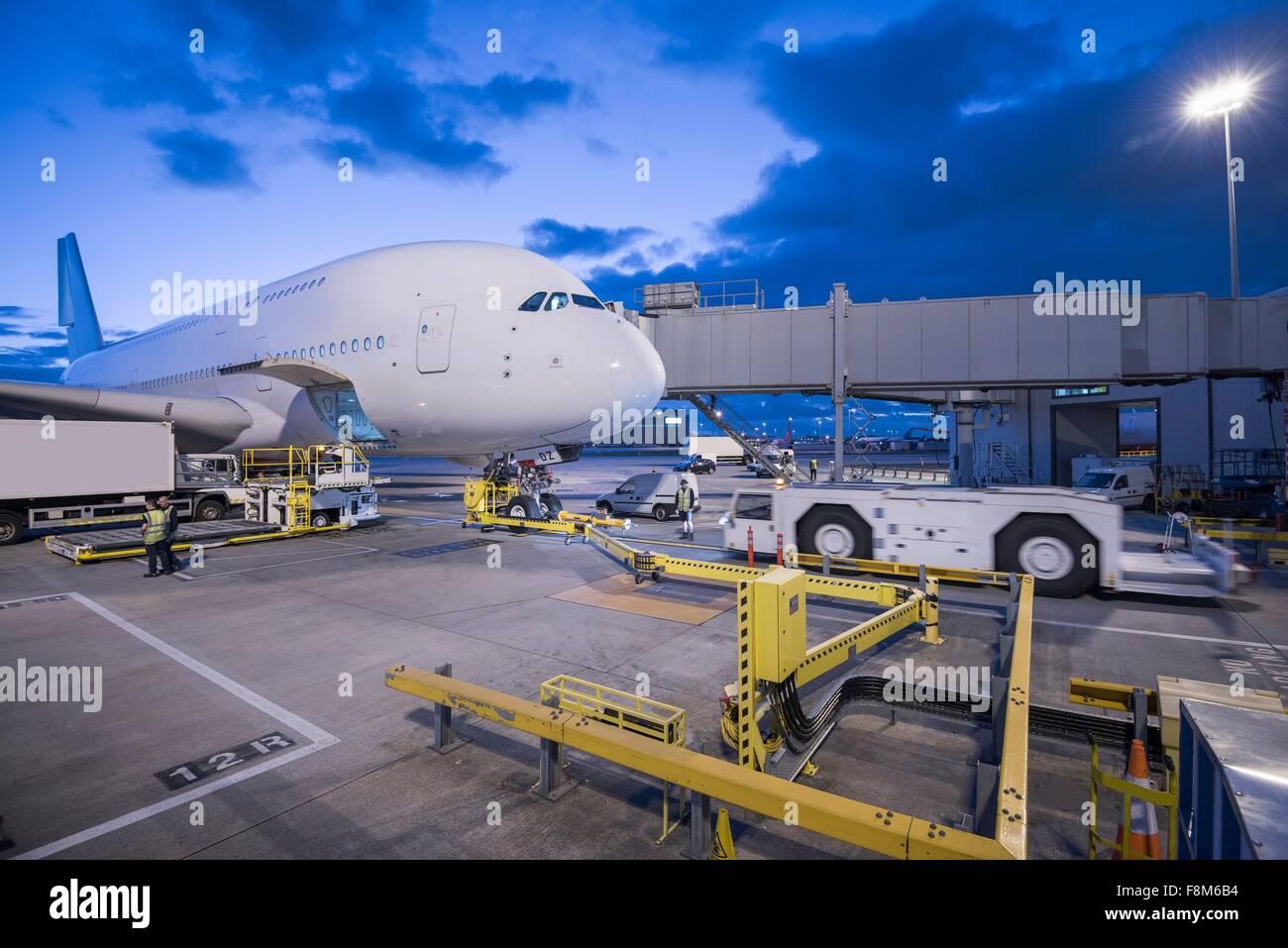 En el stand de aviones A380 en el aeropuerto Imagen De Stock