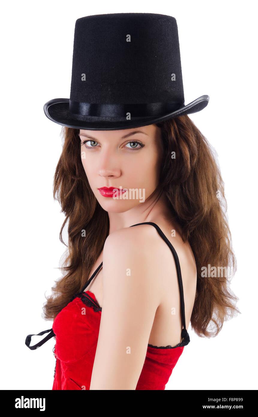 2269741da3 Modelo femenino posando en mini vestido rojo aislado en blanco Imagen De  Stock