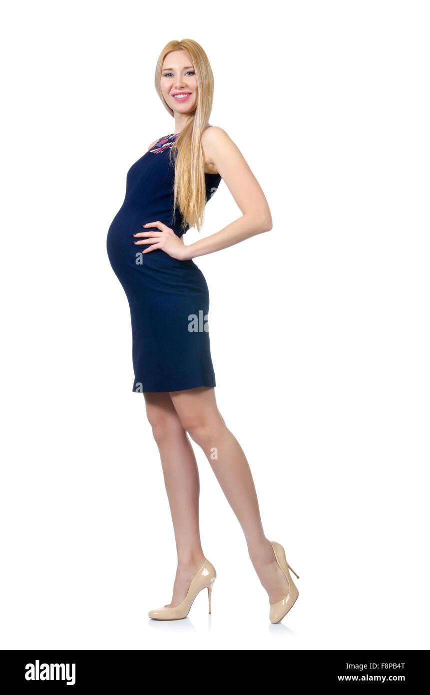 1e13d28fb Hermosa mujer embarazada en vestido azul aislado en blanco · Elnur  Amikishiyev   Alamy Foto de stock