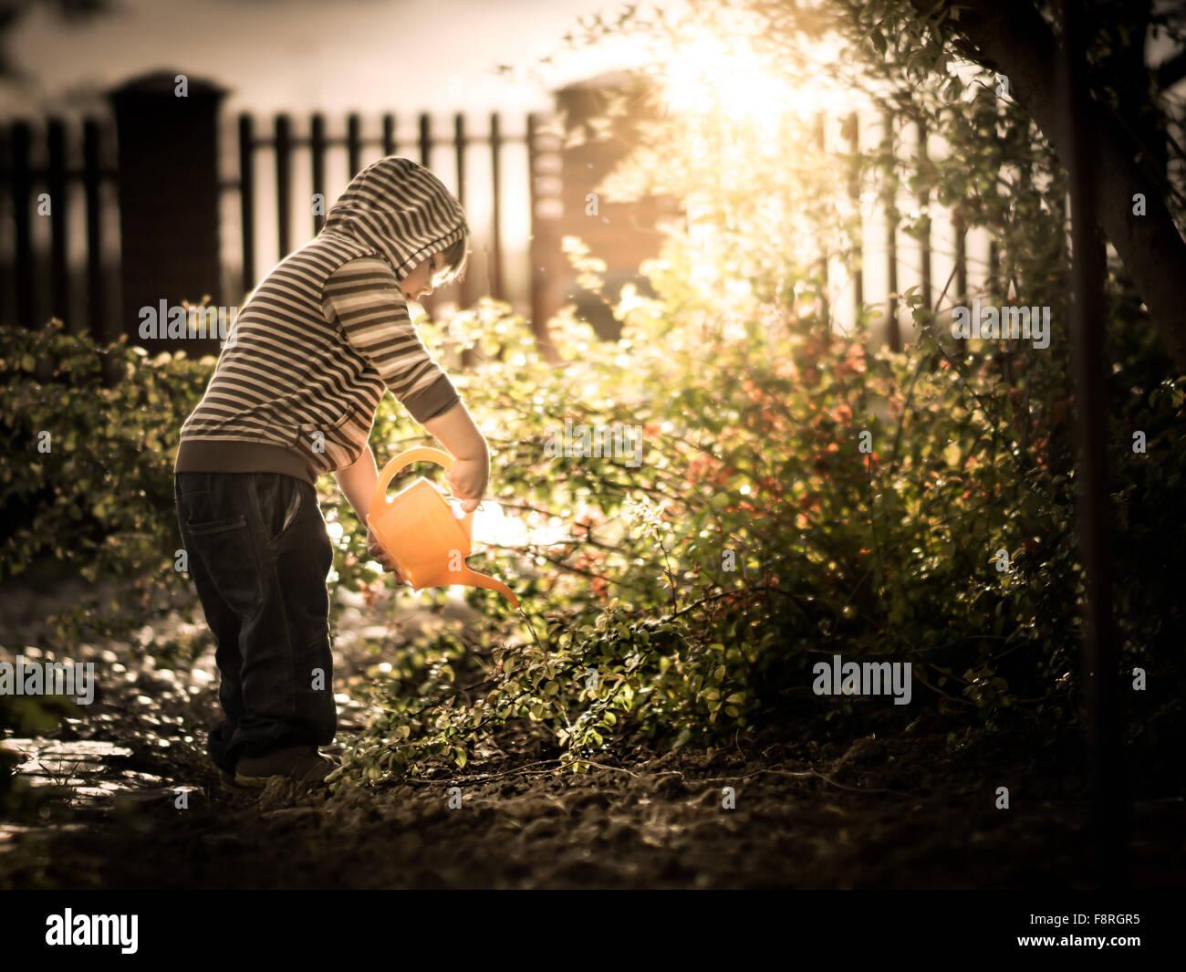 Muchacho regar las plantas en un jardín. Foto de stock