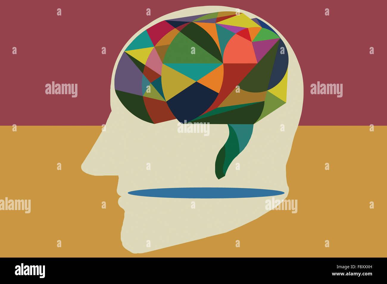 Cerebro Humano de estilo abstracto. Ilustración hecha a mano. Imagen De Stock