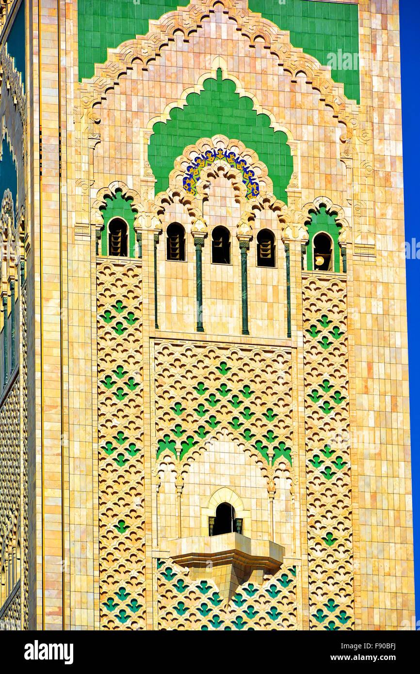 Casablanca Marruecos Mezquita Hassan II, mostrando detalles torre de altavoces y luz láser Foto de stock