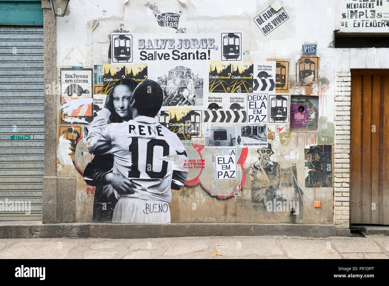 Río de Janeiro, Brasil - 22 de octubre de 2015: Street Art, representando un abrazo íntimo entre las estrellas Imagen De Stock