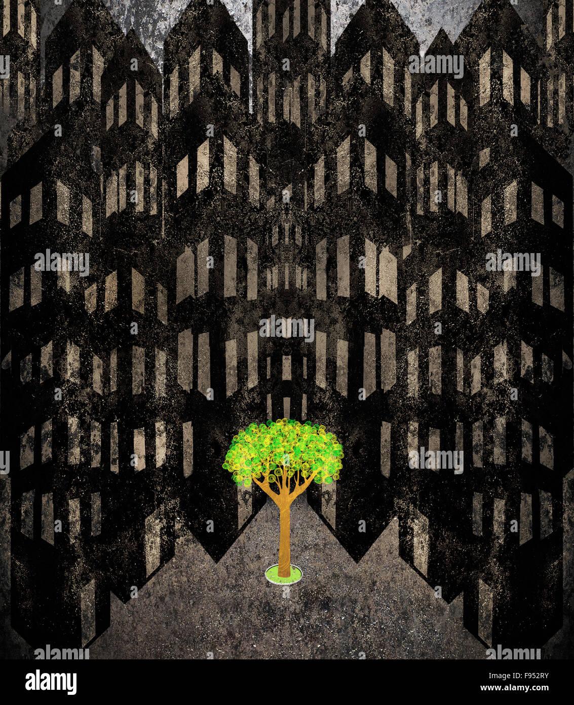 Solitario árbol en un paisaje urbano ilustración digital Imagen De Stock