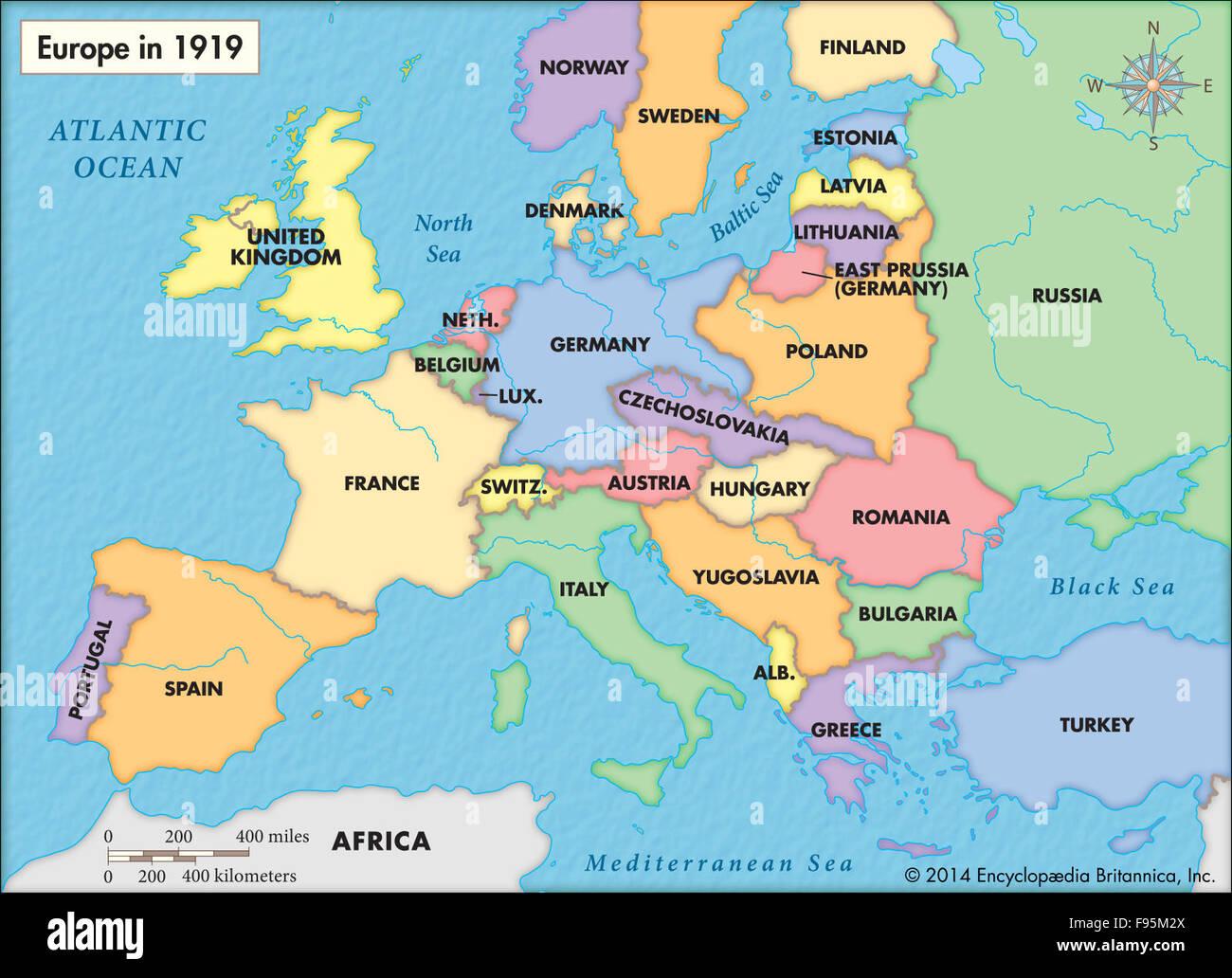 Europa En 1919 Después De La Primera Guerra Mundial Fotografía De Stock Alamy