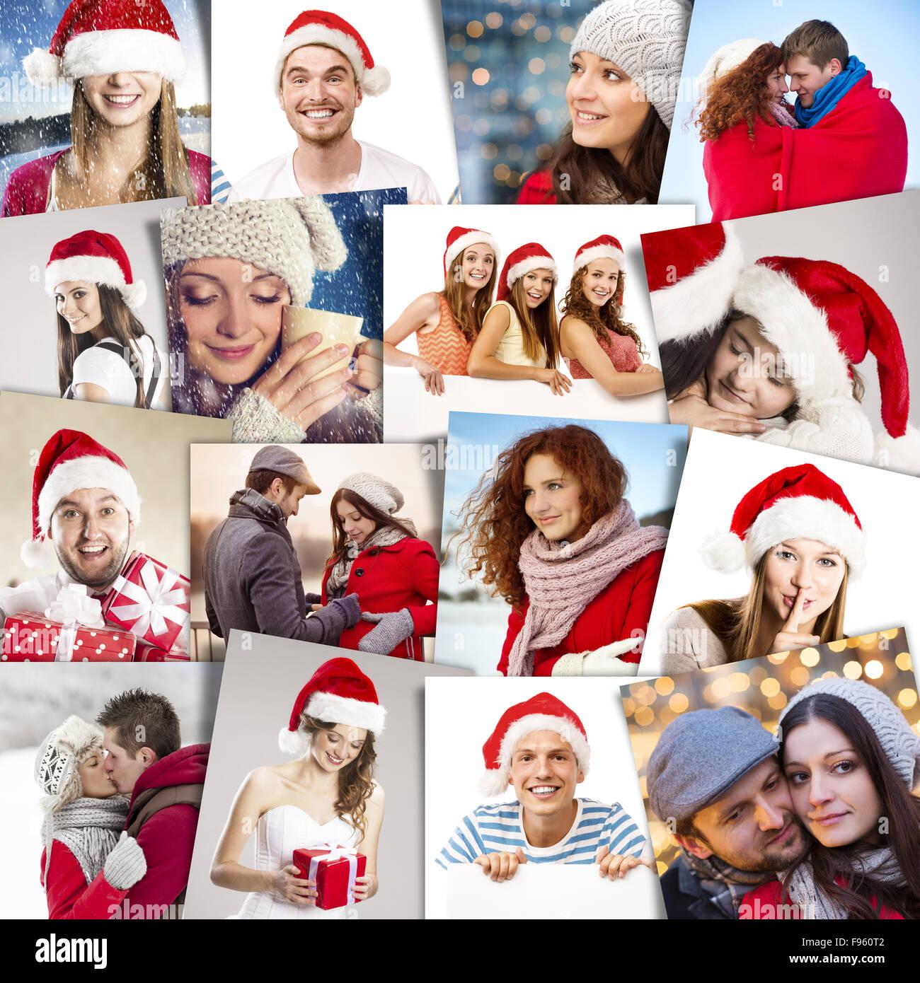 Gente Feliz En Navidad.Collage De Gente Feliz En Santa Sombreros Celebrando La