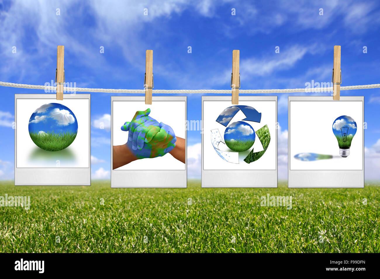 Green Energy Solution imágenes colgando de una cuerda Imagen De Stock